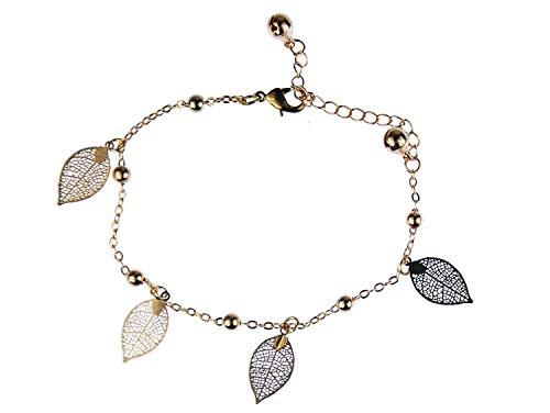 Miniblings Glöckchen Blatt Fußkettchen Fußkette Armband Blätter edel golden rosé