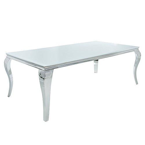 Stylischer Design Esstisch MODERN BAROCK 200cm Edelstahl mit Tischplatte aus weißem Opalglas