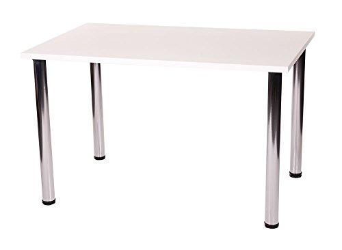 Fabian da cucina rettangolare per tavolo con 4 gambe cromate; dimensioni in mm, non cm, metallo Legno, Bianco, 1000 x 500 cm