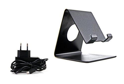 DURAGADGET Smartphone-Ständer in Schwarz und Ladestecker mit Micro-USB für Icefox Thunder | Hero | Hero Plus | Bingo Smartphones