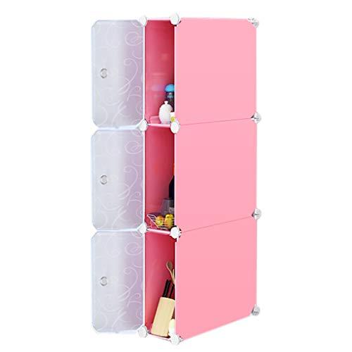 Küchenwagen QIQIDEDIAN Badezimmer-Badezimmer-Lücke-Speicher-Kabinett-Küche-Kühlschrank-Gestell-Studie (Color : Pink)