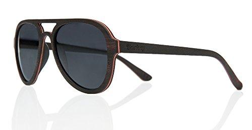 Barkey - Acapulco Flex Lentes grises - Gafas de sol de madera real de alta calidad para hombres y mujeres - 100% hechas a mano - Lentes polarizadas