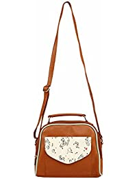 2AM Women's Leather Sling Bag (Brown-White)