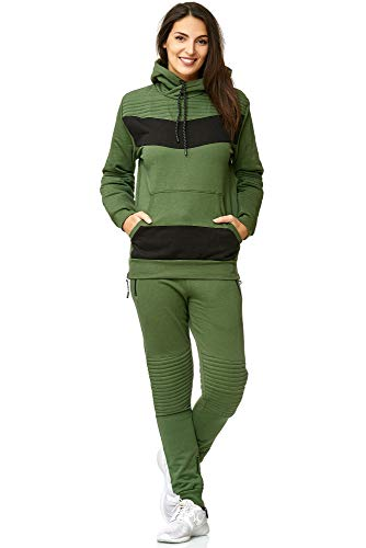 Violento Damen Jogging-Anzug | Leder Anzug 610 (L-fällt groß aus, Khaki)