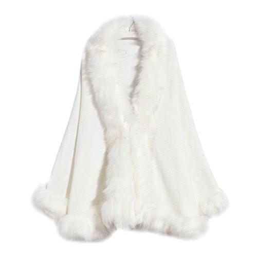 YouPue Damen Kunstpelz Kragen Strickjacke Mantel Langer Warm Poncho Cape Umschlagtücher Einfarbig