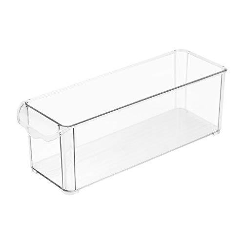 BESTonZON 2 stücke Klar Lagerung Kühlschrank Bins Rechteck Kühlschrank Organizer Bins Sortierung Container Box für Kühlschrank Gefrierschrank Pantry Küche Größe L