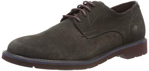 Geox U Garret A, Zapatos de Cordones Derby para Hombre, Marrón Mud/Bordeaux C6446, 43 EU