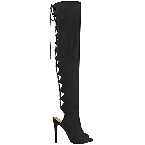 Bottes-cuissardes à talons aiguilles - moulant/sexy - à lacets - femme Faux suède noir/bout ouvert/sexy