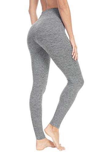 QUEENIEKE Damen Power Flex Yoga Hosen Training Laufende Leggings Farbe Grau Space Dye mit Pfirsich Größe L(12 Capri-jersey-leggings