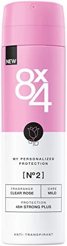 8X4 Deo Spray N°2 Clear Rose Damen Deodorant, mit frisch-floralem Duft, 48h zuverlässiger Anti-Transpirant-Schutz für sensible Haut, im 1er Pack (1 x 150 ml) - Rose Anti Perspirant
