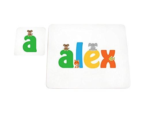 Little Helper Alex de Coast erandpl acemat de 15de personnalisée, fille nom et dessous de 4 sets de table avec finition brillant