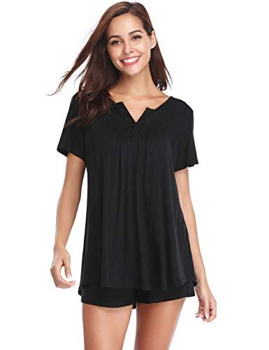 Abollria set pigiama donna estivo, pigiami due pezzi da donna in cotone al 95%, pigiama donna corto, maniche corte in cotone nero xxl