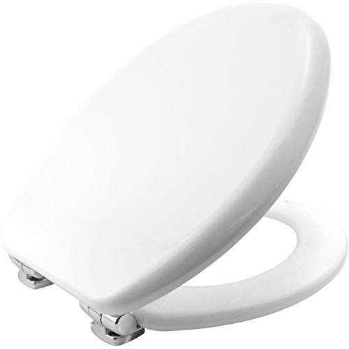 Bemis 4403CLT000 VEGAS Formholz WC-Sitz mit STA-TITE Fixierungssystem und verchromten Scharnieren mit Absenkautomatik, Weiß - Wc-scharnier Bemis