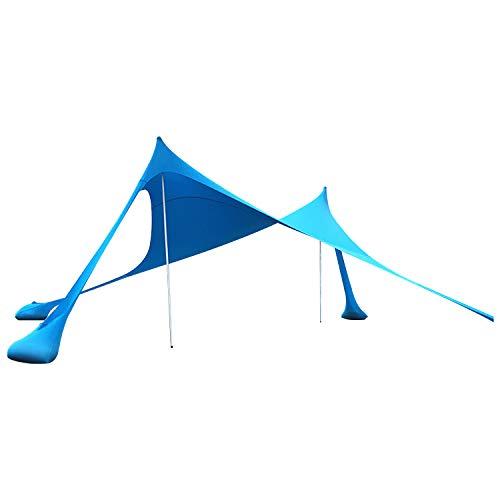 Lovebay Tenda da Spiaggia con Sabbia Anchors e Bastone - 100{267968db686ec1ccac598da1232724f68979abb3ba91ea20b708bcf966383635} lycra SunShelter Tettuccio Parasole con Protezione UV 210 x 210 CM per Campeggio Esterno Pesca Picnic
