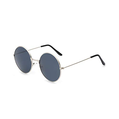 Sportbrillen, Angeln Golfbrille,Ladies Fashion Round Mirror Sunglasses Women Men Vintage UV400 Protection Sun Glasses Retro Eyeglasses Oculos De Sol 4066 x11 Silver