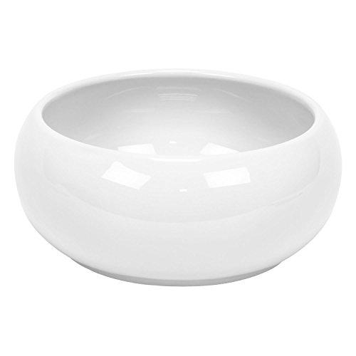 Cache pot rond Piano en ceramique, bas bol, en blanc, diam. 24 cm