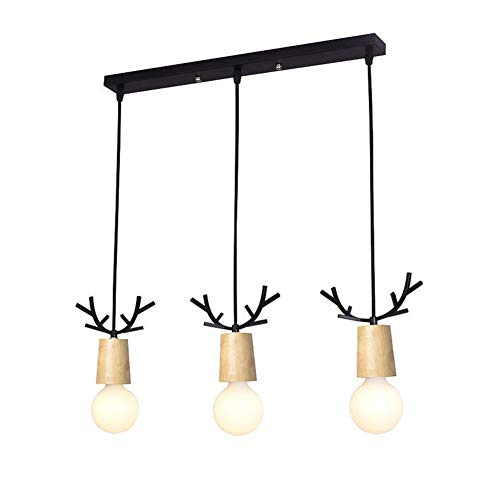 HoaLit Moderne Pendelleuchte Küche, E27 Hängeleuchte Mit Holz Metal Pendellampe Für Dekoration Wohnzimmer Schlafzimmer-schwarz - Fantasy-bronze-kronleuchter