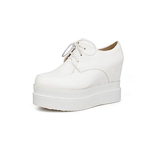 AgooLar Damen Rund Zehe Hoher Absatz Weiches Material Rein Schnüren Pumps Schuhe Weiß
