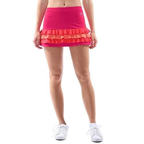 Rosa Rüschen Skort Rock (Sportkind Mädchen & DamenTennis, Hockey, Golf Rüschenrock mit Innenhose, pink Mixed, Gr. 128)