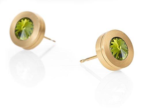 Heideman Ohrringe Damen Colori aus Edelstahl gold farbend matt Ohrstecker für Frauen mit Swarovski Stein Kristall oliv grün im Fantasie Edelsteinschliff 6mm