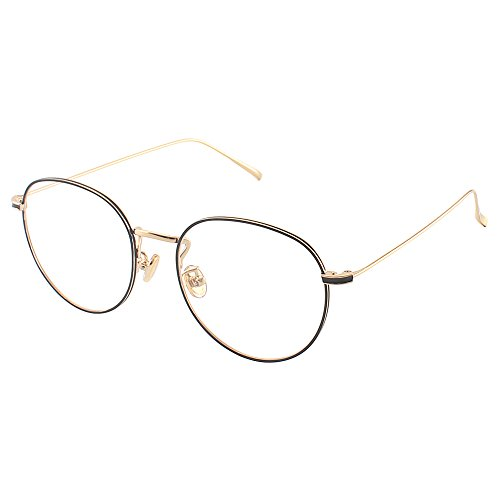 day spring online shop Oval Classic Fashion Alloy Metal Frame Clear Lens Round Circle Eye Glasses - black gold