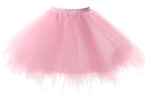 Poplarboy Damen Kurz 50er Vintage Petticoat Reifrock Mehrfarbengroß Unterröcke Braut Crinoline Ballett Blase Tutu Ball Kleid Underskirt Rosa, Einheitsgröße