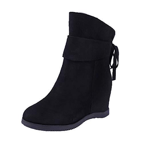 FNKDOR Damen Plateau Stiefel Wedge Boots Keilabsatz Kurzschaft Blockabsatz Wildleder Stiefeletten gr 39 EU Schwarz