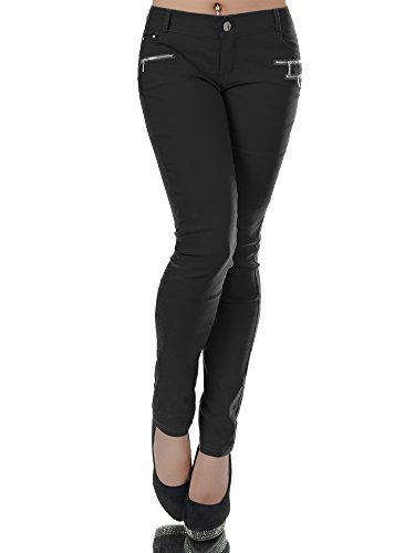 N013 Damen Hose Treggings Jeggings Stoffhose Freitzeithose Röhrenhose Leggings , Farben:Schwarz;Größen:40 (L)