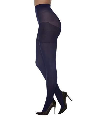 CALZITALY Blickdichte Strumpfhose Grosse Grössen | Curvy Strumpfhosen Plus Size | Schwarz, Blau | 60 DEN | L, XL, XXL | Made in Italy (XXL, Blau)