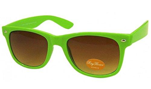 NEON GRÜN RETRO Fashion Designer Geek Nerd NHS Big Rave Party Brille groß Wayfarer Hot (Medium Größe)