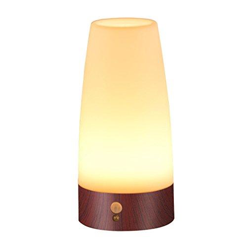Signstek LED Bewegungsmelder Tischleuchte Nachtlicht LED-Tischlampe mit kabellosem PIR-Bewegungssensor (Rund-Viereckig)