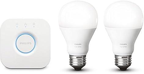 Philips Hue White E27 LED Lampe Starter Set inkl. Bridge, dimmbar, warmweißes Licht, steuerbar via App, kompatibel mit Amazon Alexa (Echo, Echo Dot)