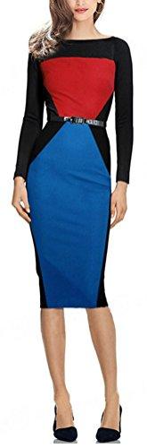 SunIfSnow - Robe spécial grossesse - Moulante - Uni - Manches Longues - Femme Bleu/rouge