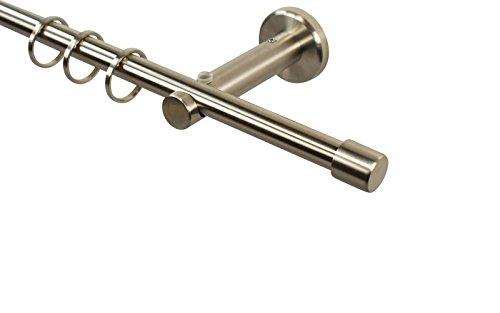 Edelstahl Gardinenstange 12 mm zur Wandmontage mit Endstück Kappe, 160 cm
