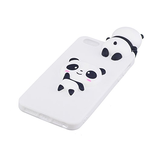 Cover iPhone 7 Silicone, LuckyW TPU Silicone Transparent Custodia per Apple iPhone 7 7S (4.7 pollici) 3D Protettivo Shell Clear Limpido Bumper Case Cover Ultra Sottile Ultra Slim Thin Flessibile Skin  Bianco Panda