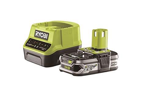 Ryobi Akku mit Schnelladegerät 18V, 2,5 Ah, ONE+, mit Überlastungsschutz und Ladezustandsanzeige, RC18120-125