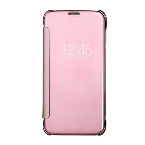 Caryycy lusso elegante glitter smart flip ultra slim view electroplated specchio rigida trasparente per custodia per samsung galaxy s6 edge plus , oro rosa