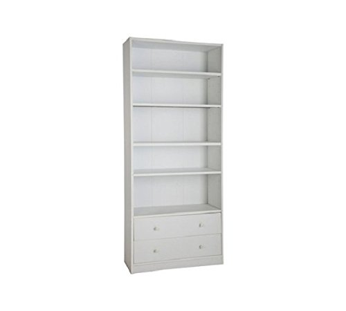HOME Maine 4 Shelf 2 Drawer Extra Deep Bookcase - White
