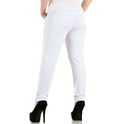 Damen Jeans, DESTROYED ÜBERGRÖßEN SKINNY JEANS, KL-J-A275-1 Weiß