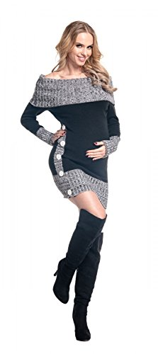 Happy Mama Femme Maternité robe pull de grossesse encolure Bardot. 913p Noir