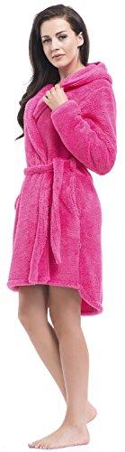 dn-nightwear Damen Bademantel mit Kapuze Pink