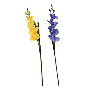 FLAMEER 2X Flor Artificial Gladiolos de Plástico 5 Colores Set para Seleccionar – Azul Amarillo