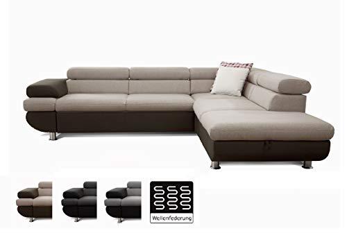Cavadore Ecksofa Caponelle mit Ottomanen rechts / Moderne zweifarbige Couch inkl. Kopfstützen / 267 x 72 x 226 cm (BxHxT) / Strukturstoff beige - braun