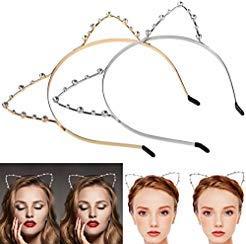 Katzenohren Haarreif Haarband, ETEREAUTY Kristall Strass Metall Katze Ohr Stirnband Haarreif für Halloween Karneval Kostüm Cosplay Party 2 Stück Gold