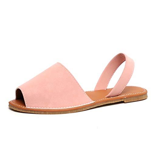 Sandalen Damen Sommer Sandaletten Flachen Frauen Knöchelriemchen Espadrille Plateau Flip Flop Sommersandalen Bequeme Elegante Schuhe Schwarz Weiß Rosa Gr.34-44 PK36 (Rosa Flache Schuhe)