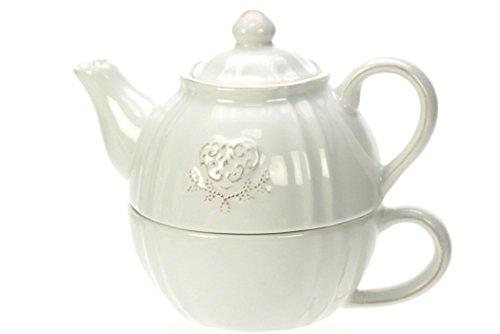 Revimport 2455/02-teiera solo decorativo a forma di cuore, in ceramica, colore: bianco, 16 x 10,5 x 12,6 cm
