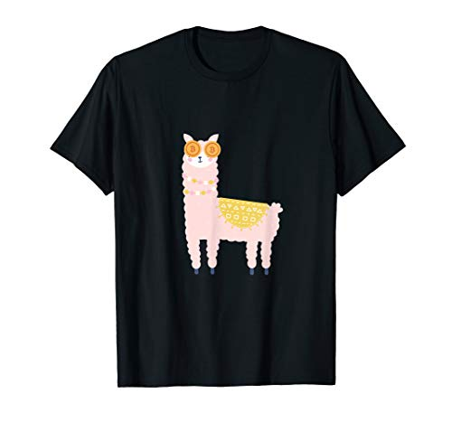 Lustiges Bitcoin Lama Alpaca Crypto BTC  HODL Blockchain T-Shirt
