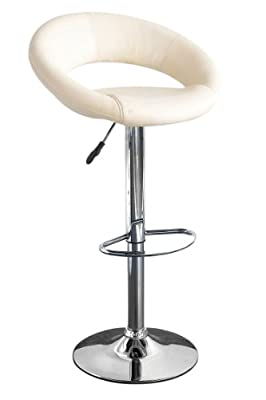 Premier Housewares Adjustable Oval Bar Stool with Leather Effect Seat and Chrome Base, Set of 2, 82 x 44 x 38 cm, Cream