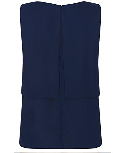 oodji Ultra Femme Top en Tissu Léger et Fluide Bleu (7900N)
