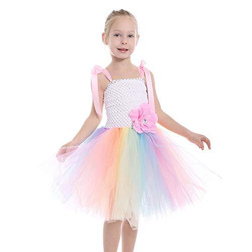 ZONA Elegent Tanz Kostüm Kleid Für Mädchen Ärmellos Performace Halloween Ostern Karneval Festival/Urlaub Tüll Patchwork Pink Bezaubernd (Color : Pink, Size : L) (Tanz Kostüm Kleidungsstück Rack)